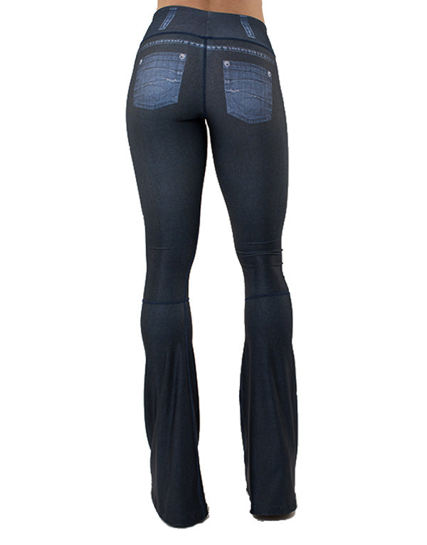 Dark Blue Ripped Bellbottom Pants