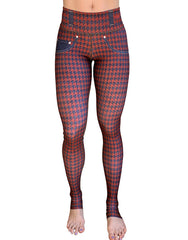 Rusty-Denim Houndstooth Leggings