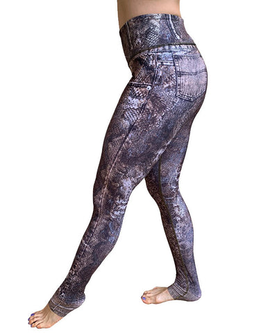 Denim-Piton Leggings