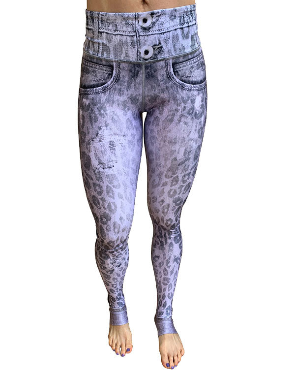 Gray Denim Cheetah Leggings