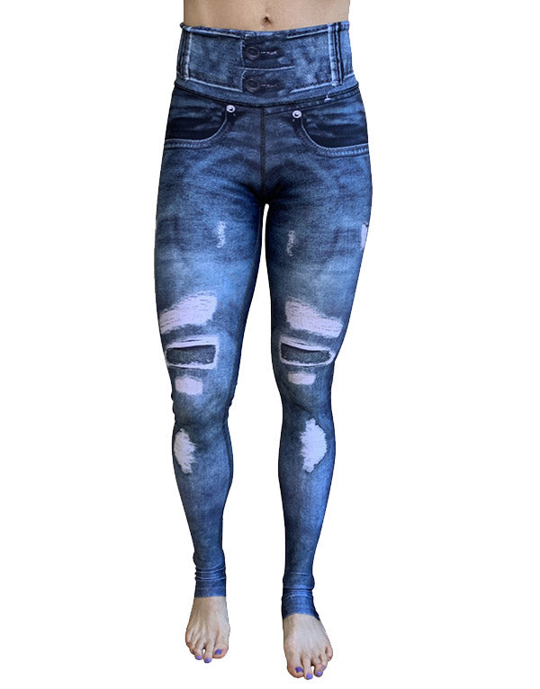 Denim Blue Rips Leggings (Printed-Rips)