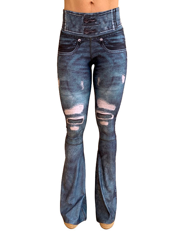 Blue Denim Bellbottom Pants