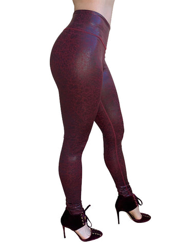 Cire Burgundy Leggings (Wet-look)