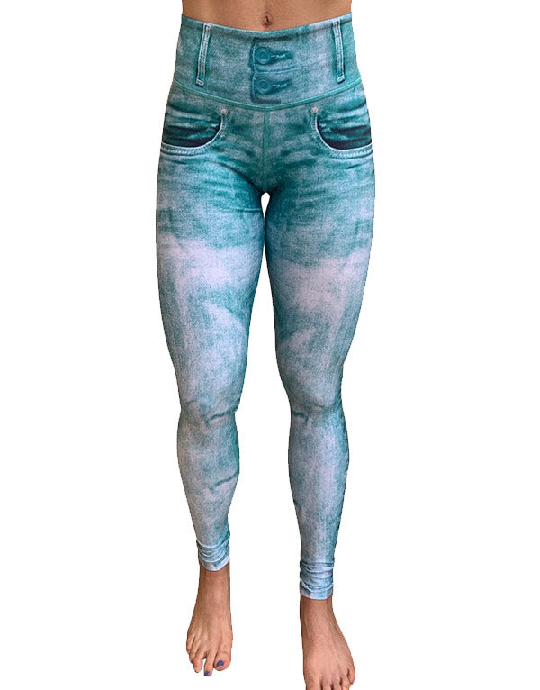 Mint-Acid Wash Leggings