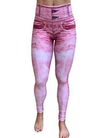 Pink Denim Leggings