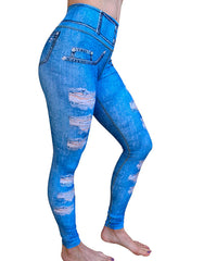 Blue Denim Rips Leggings