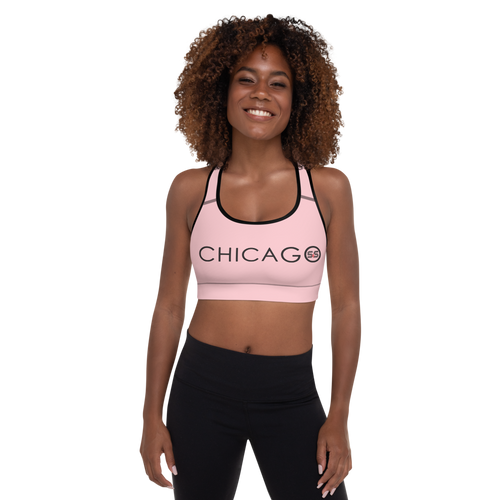 All-Over Print Padded Sports Bra (Pink with Black and Red S&S Chicago)