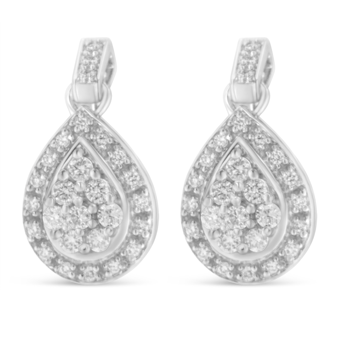 10K White Gold 0.75 CTTW Round Cut Diamond Earrings (H-I, I1-I2)
