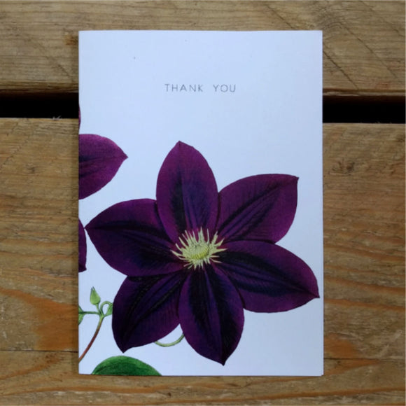 Purple Clematis folded thank you
