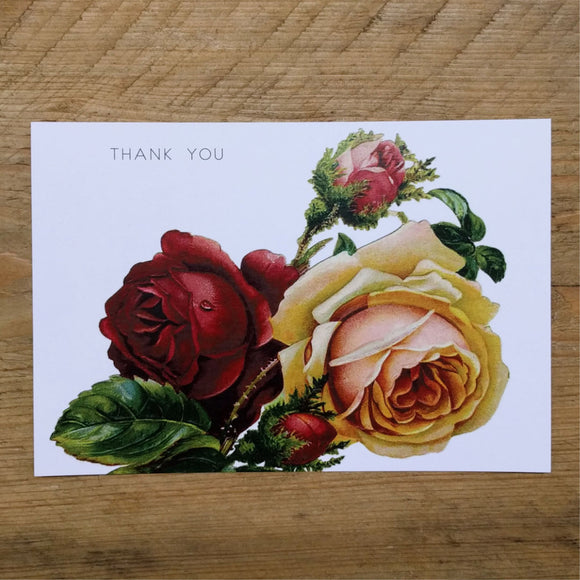 Flat Red Rose thank you card