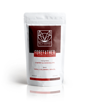 340g bag of Forefather, the specialty espresso coffee from Sly and Sons Coffee Roasters