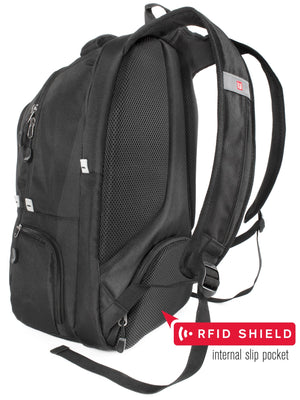 Navigator Padded Laptop Backpack, Grey/Black