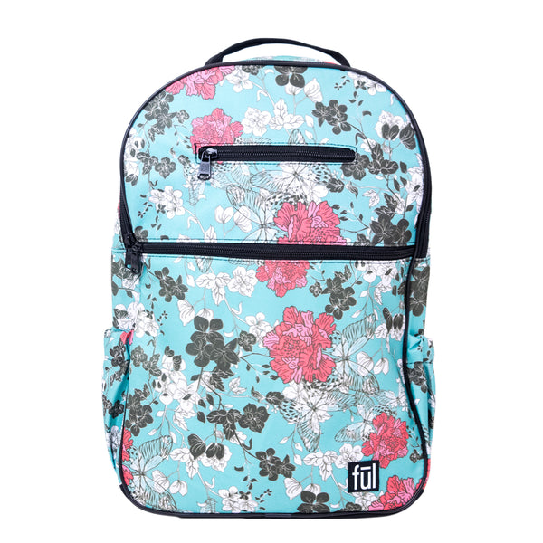 Accra Fashion Laptop Backpack, Teal Floral Print