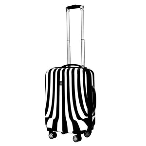 White Swirl 20in Hardisded Spinner Luggage, Black and White Stripe