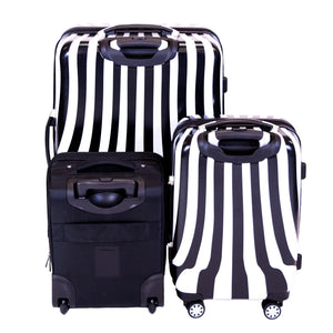 White Swirl 3 Piece Luggage Set, 28in, 20in, 16in Suitcases, Black and White Stripe