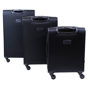Flemington Soft Sided 3 Piece Luggage Set, 21, 25, and 29in Suitcases, Black