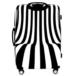White Swirl 28in Hardsided Spinner Luggage, Black and White Stripe