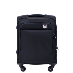 FUL Flemington 21in Soft Sided Rolling Luggage Suitcase, Black