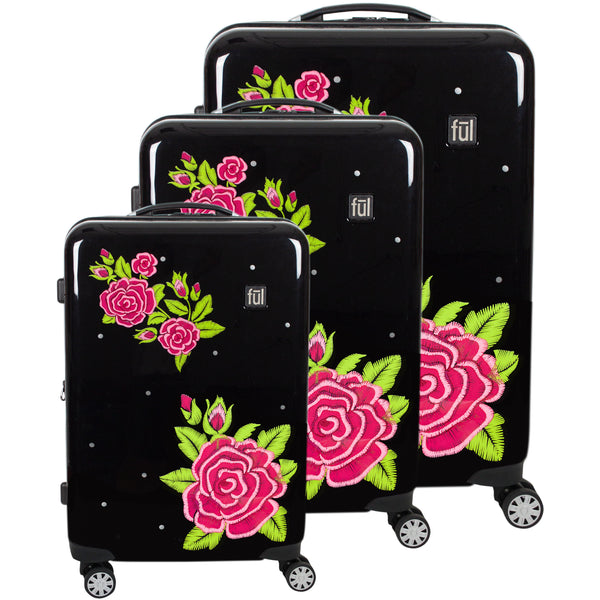 Printed Rose Hard Sided 3 Piece Luggage , 29, 25, and 21in Suitcases