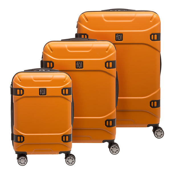 Molded Detail Hard Sided 3 Piece Luggage Set, 29, 25, and 21in Suitcases