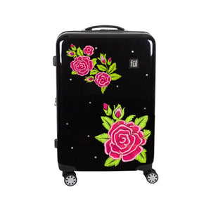 Printed Rose 25in Hard Sided Rolling Luggage, Black