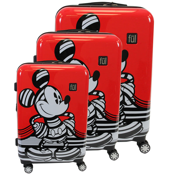 FUL Disney Striped Mickey Mouse Hard Sided Luggage, 29, 25, and 21in Suitcases, Red