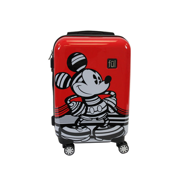 FŪL Disney Striped Mickey Mouse 21in Hard Sided Luggage, Red