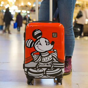 Disney Striped Mickey Hard Sided Luggage, 29, 25, and 21in Suitcases, Red