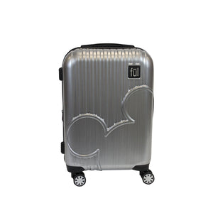Disney Molded Mickey Icon 21in PC Hardsided Rolling Luggage, Silver
