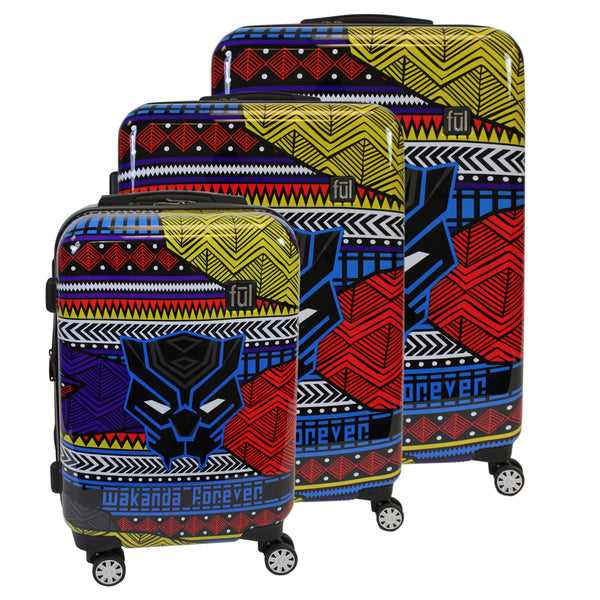FŪL Marvel Black Panther Tribal Art 3 Piece Luggage Set, 29, 25, and 21in Suitcases