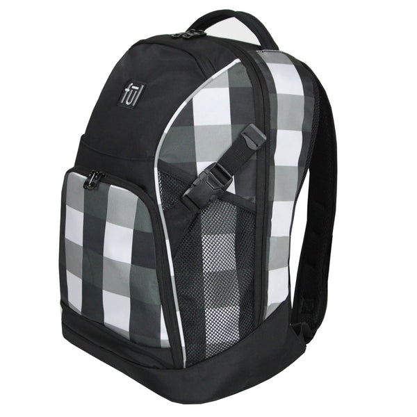 "Marlon 19"" Laptop Backpack, Black/White"