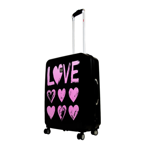 Love 21in Hard Sided Rolling Suitcase, Pink Print on Black Background