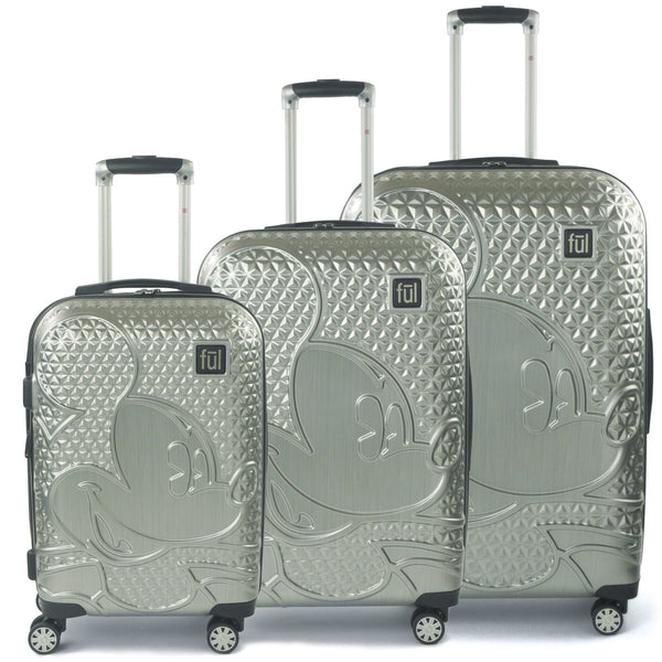 FUL Disney Textured Mickey Mouse Hard Sided 3 Piece Luggage Set, 29, 25, and 21in Suitcases