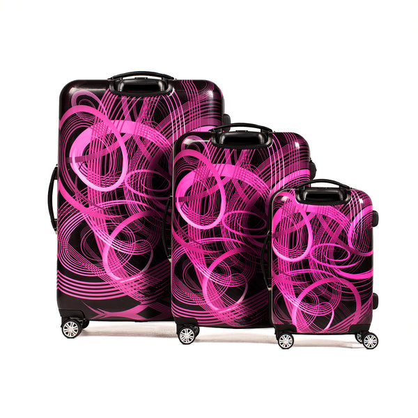 Atomic Nested 3 Piece Luggage Set, Spinner Rolling Luggage, 28in, 24in, and 20in Sizes