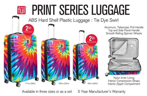 Tie-dye Bright Rainbow Swirl FŪL 3 piece spinner rolling Luggage Set
