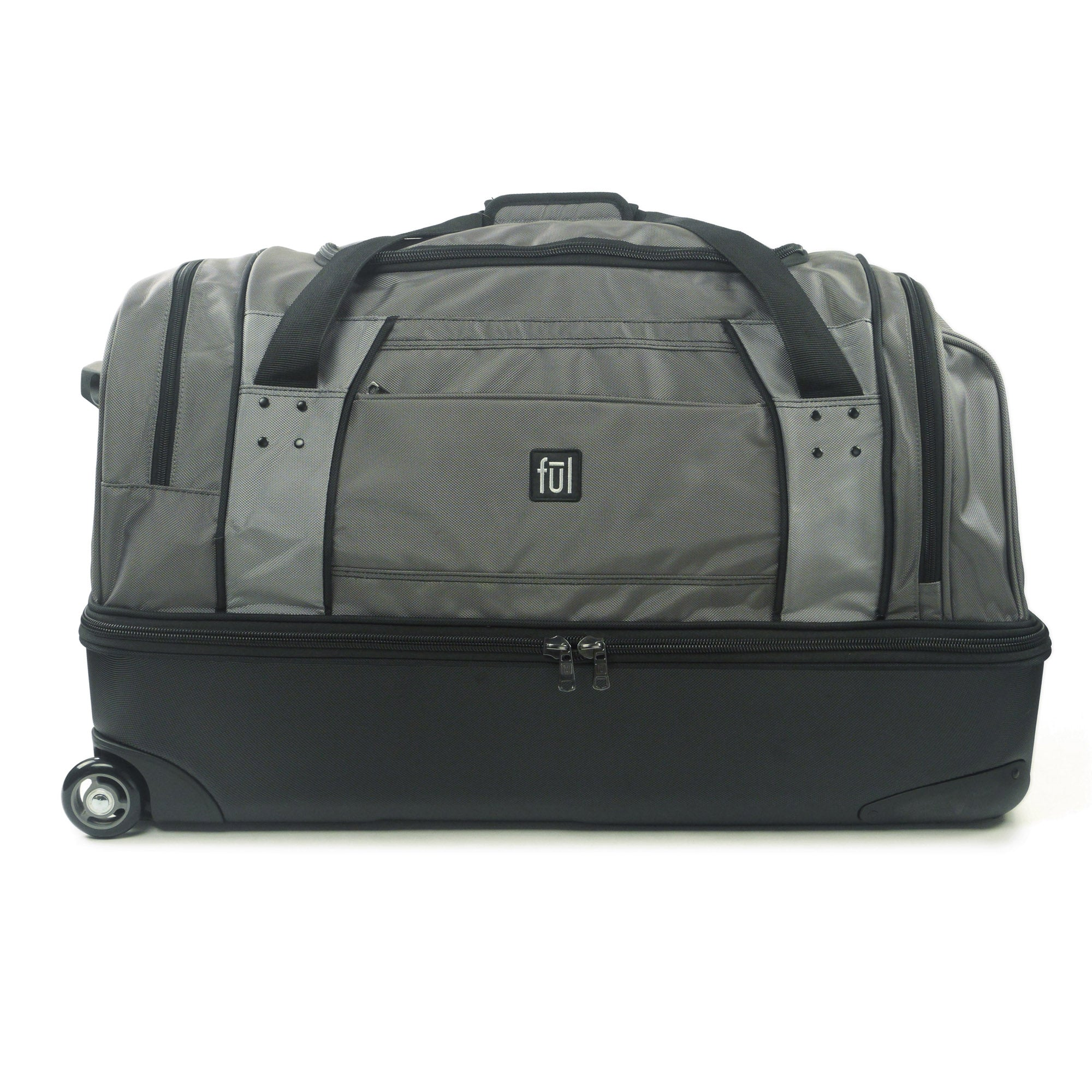 Workhorse 30in Rolling Duffel Bag, Retractable Pull Handle, Split Level Storage, Black