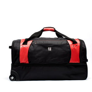 XPEDITION 30in Rolling Duffel Bag, Split Level Storage, Black/Red