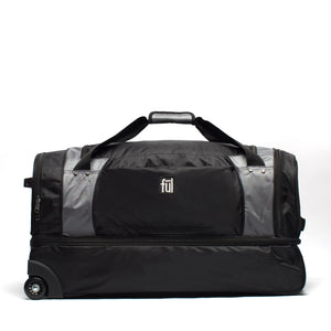 XPEDITION 30in Rolling Duffel Bag, Split Level Storage, Black/Grey