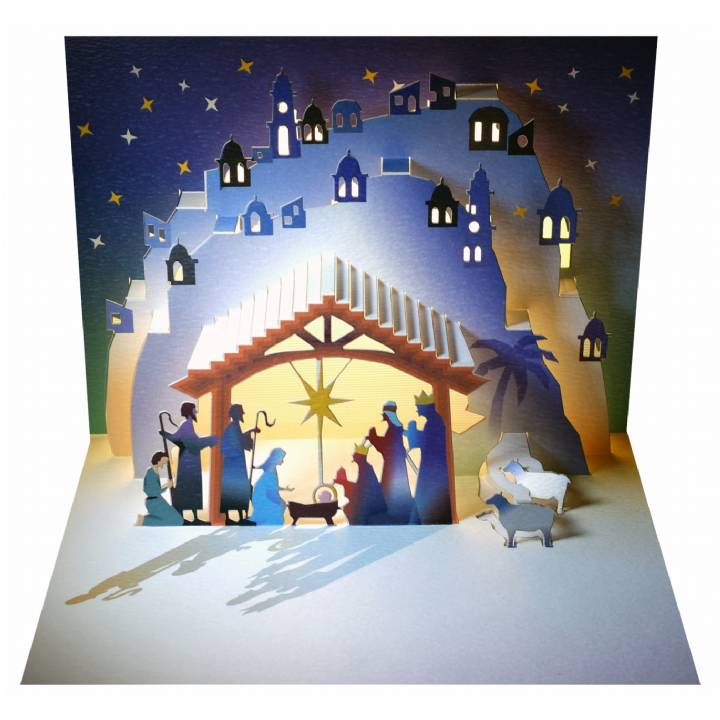 POP107 Holy Night Nativity Pop Up Card