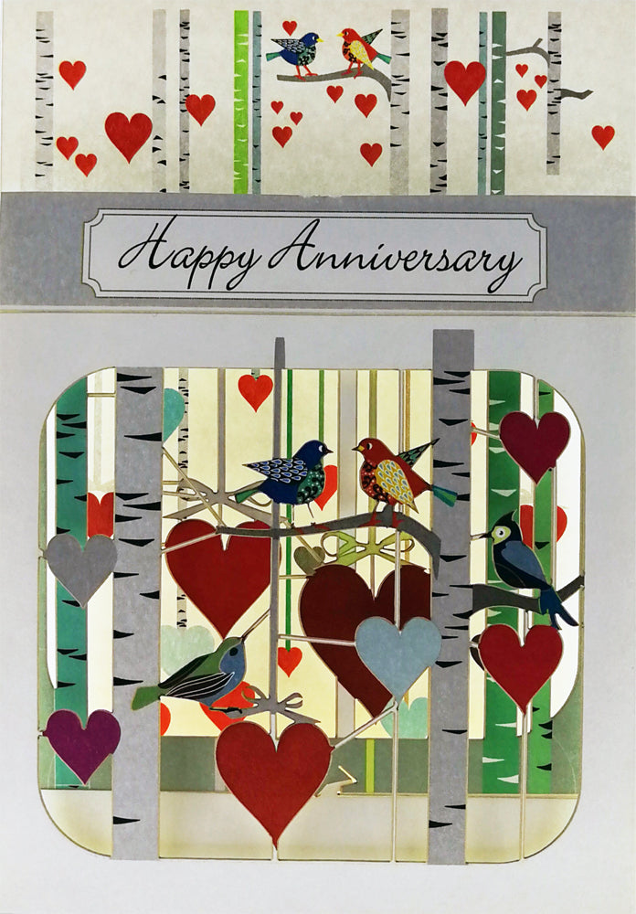 BX202 Happy Anniversary Birds and Hearts