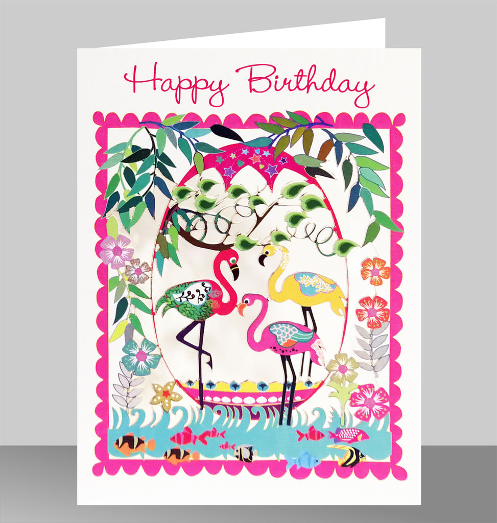 PM553 Happy Birthday Three Flamingos