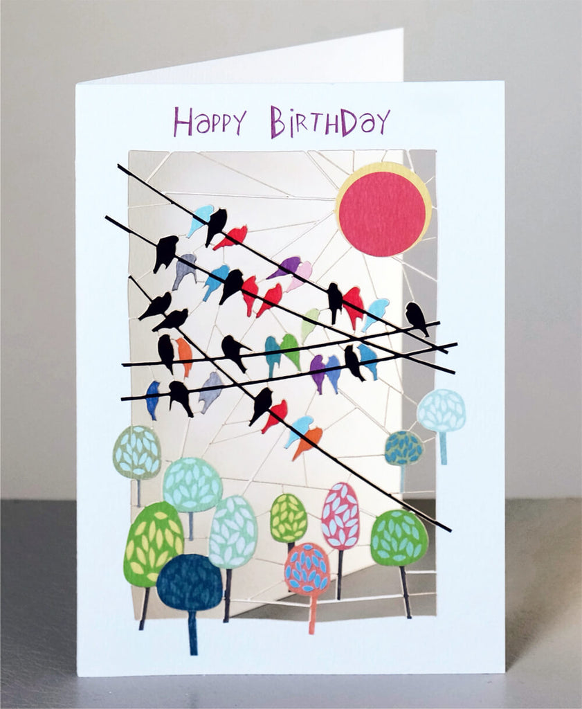 PM127 Happy Birthday Birds on Wires
