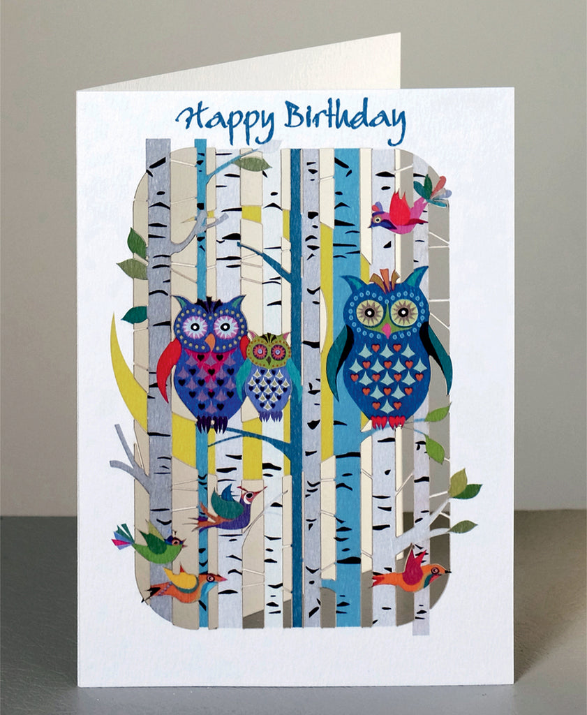 PM210 Happy Birthday Owls in Forest