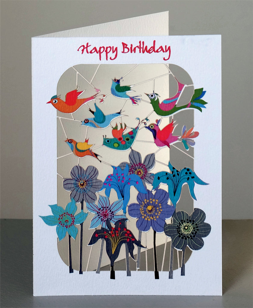 PM222 Happy Birthday Birds Flying over Flowers