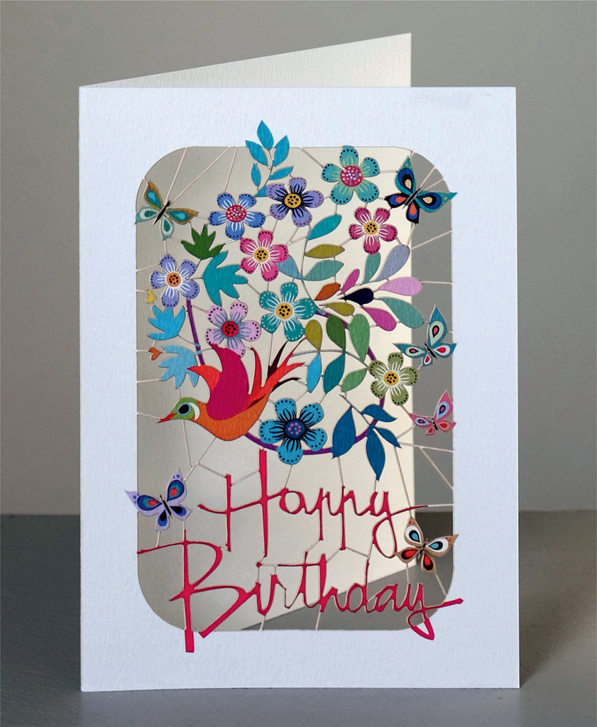 PM225 Happy Birthday Bird and Flowers