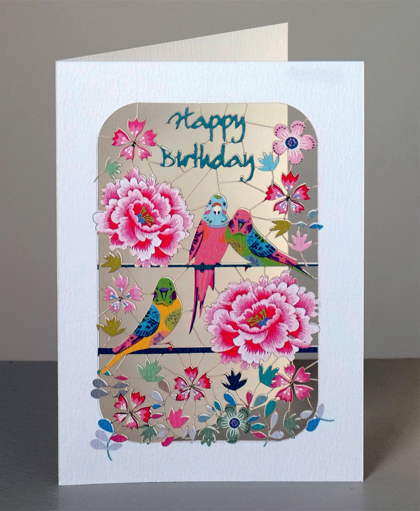 PM252 Happy Birthday Parakeets and Peonies