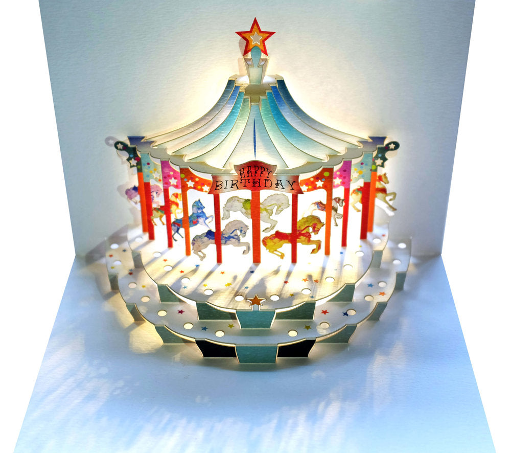 POP96 Happy Birthday Carousel Pop Up Greeting Card