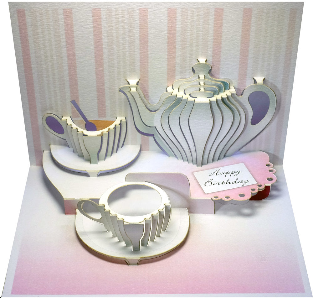 POP98- Birthday Tea Cup Pop Up 3D Greeting Card