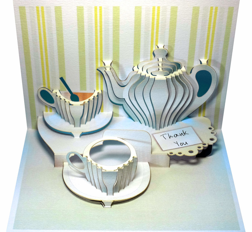 POP99 Thank You tea set Pop Up Greeting Card