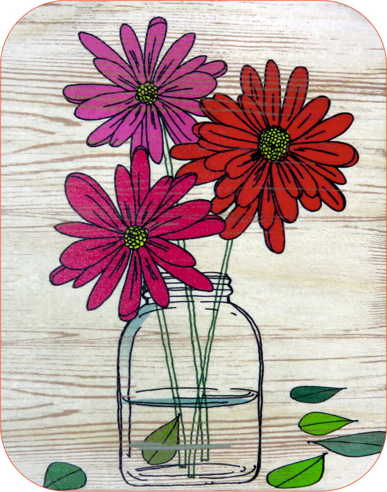 W505 Red daisy wood card